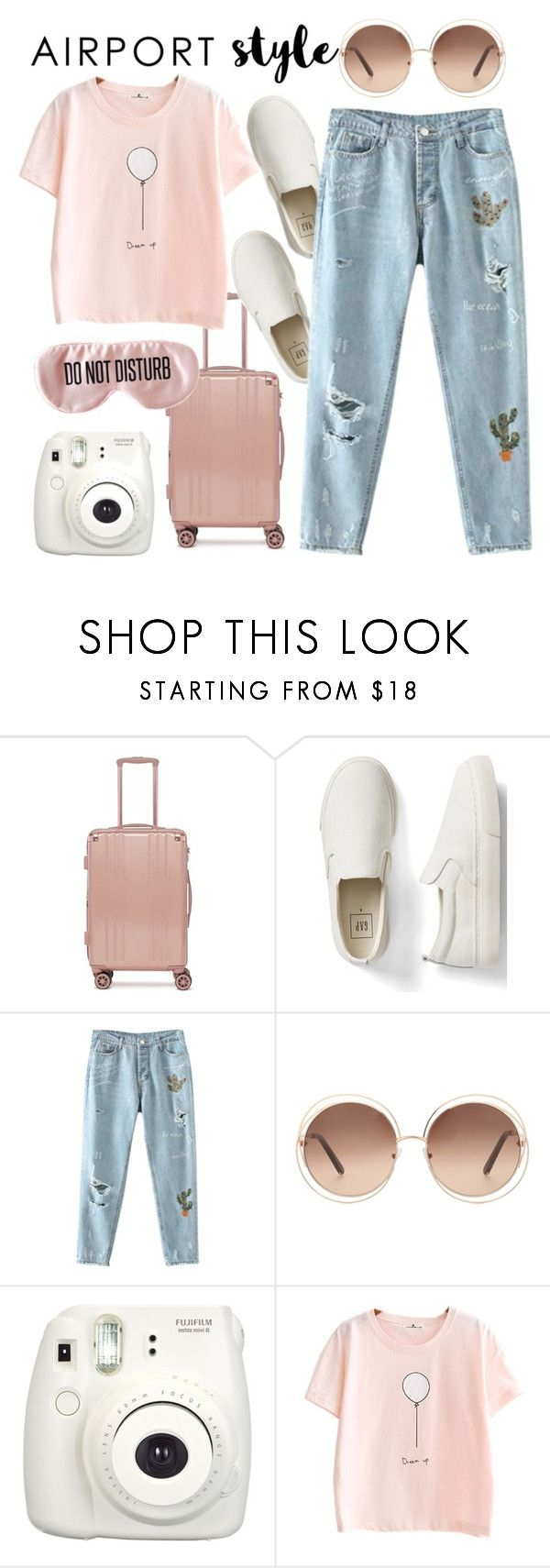 """""""Airport Style"""" by mimas-style ❤ liked on Polyvore featuring CalPak, Gap, Chloé, Fujifilm and BaubleBar"""