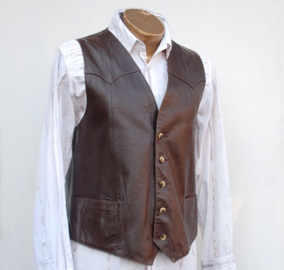 Men's leather vest chocolate brown vintage by joyridevintage, $48.00