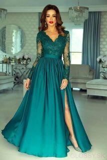 Nádherné dlhé spoločenské šaty Luna v smaragdovej farbe. V ponuke na  www.glossy. 3d07d3ae545