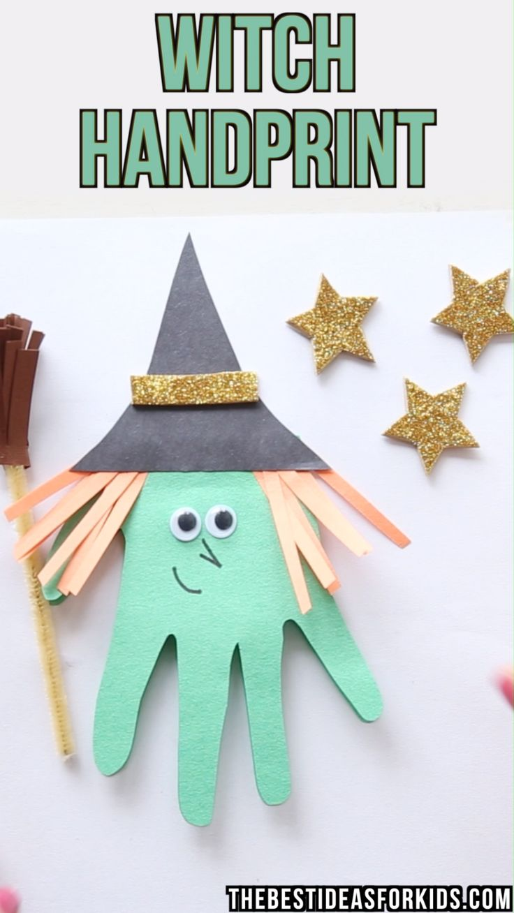 HANDPRINT WITCH – Halloween craft for kids – this handprint witch is so fun and …