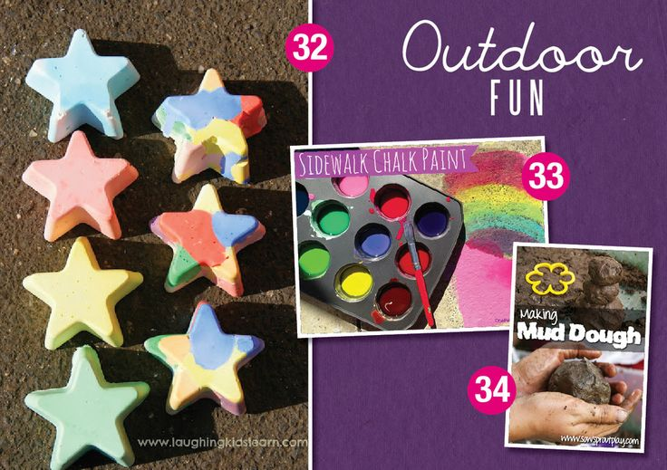 32. DIY Multicoloured Chalk by Laughing Kids Learn 33. Sidewalk Chalk Paint by One Perfect Day 34. Making Mud Dough by Sow sprout play