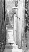 Schodiště (2491-2) • Praha, září 1963 • | černobílá fotografie, zeď, lucerna, schod, mezi Úvozem a Loretánským náměstím |•|black and white photograph, Prague|