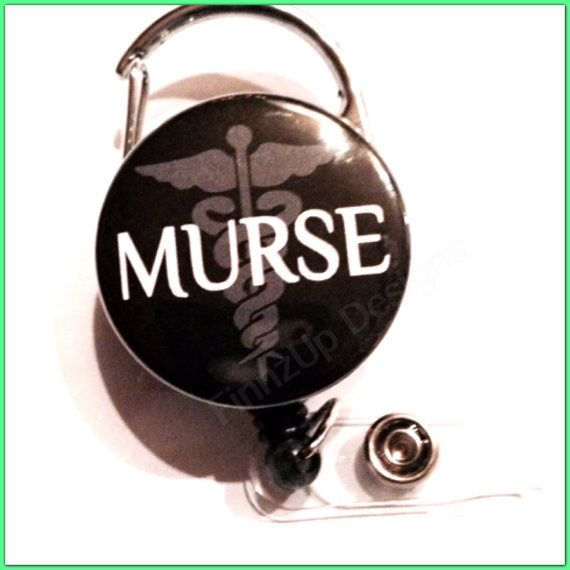 Carabiner Retractable Badge Reel or Badge Holder- Black with Caduceus- Medical Symbol and Murse. Funny gift for Male Nurse