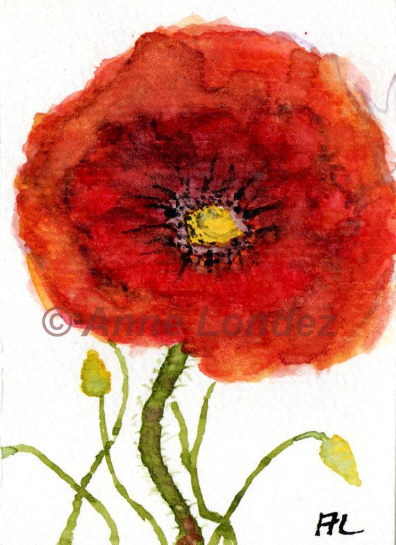ACEO Orginal Watercolour/Watercolor RedPoppy by by annelondez1.