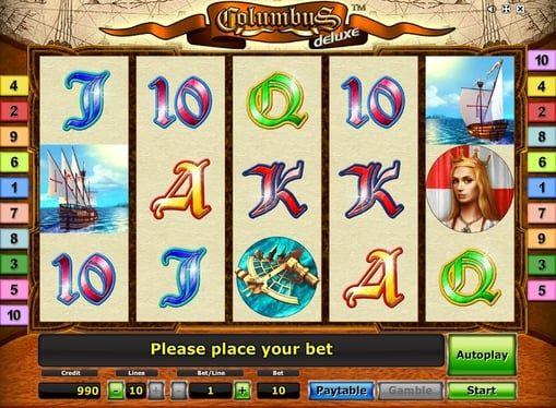 Columbus Deluxe в онлайн казино с выводом денег. Columbus Deluxe позволит вам попасть во времена знаменитых открытий. Запустив эту игру в онлайн казино, вы сможете провести быстрый вывод щедрой суммы денег, а заодно пересечь Атлантический океан вместе с Колумбом.   Особеннос