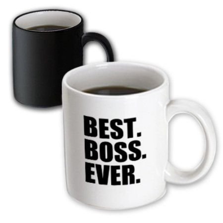 3dRose Best Boss Ever - fun funny humorous gifts for the boss - work office humor - black text, Magic Transforming Mug, 11oz