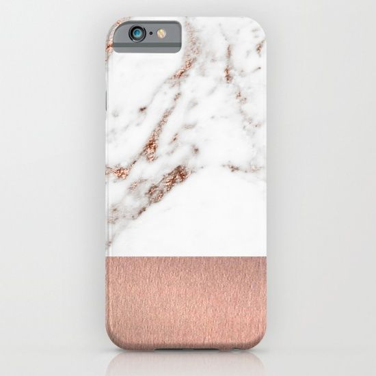 Rose gold and marble iphone case, galaxy case and other items. Marbleco on Society6