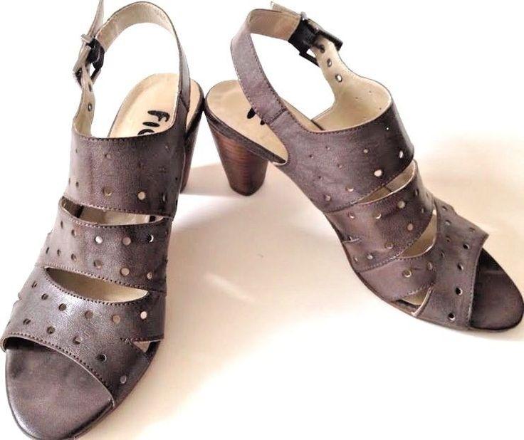 Fidji Stacked Heel Slingback Sandals Gray Leather Buckle Euro 39.5 Portugal EUC #Fidji #OpenToe #Slingback #StackedHeel #Sandals #Heels