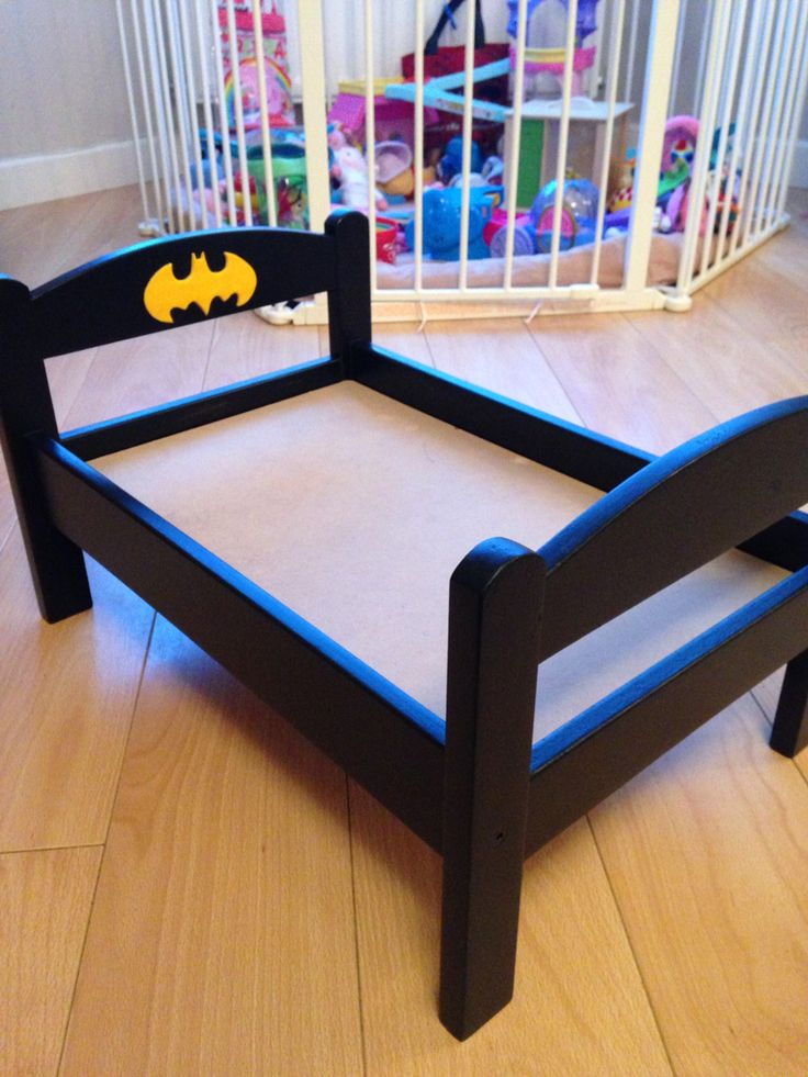 Wooden ikea dolls bed turned into boys Batman Bed...