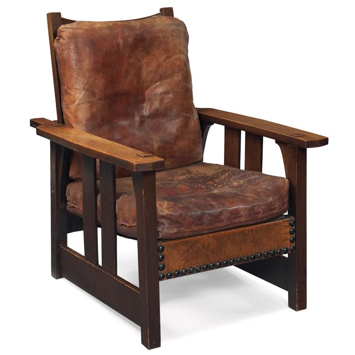 ... Stickley Furniture Leather Recliner By Gustav Stickley Morris Chair  2341 Flat Arm Form With ...