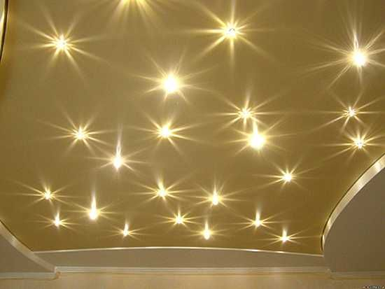 golden stretch ceiling film with led lights for kids room decorating