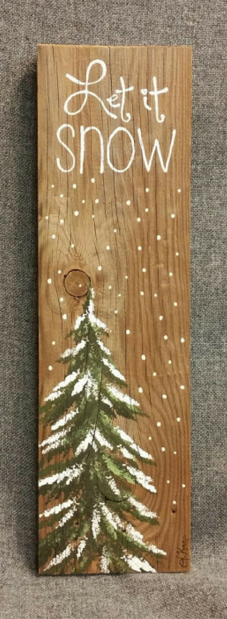 Let it Snow, Hand painted Christmas decorations, winter greenery, Winter Reclaimed Wood Pallet Art, Pine tree, Christmas, Rustic Christmas decor, Rustic Christmas sign, Rustic decor #affiliate #ad