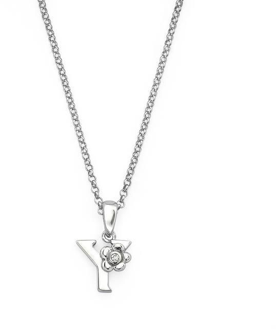 "Little Diva Diamonds Little Diva Silver Initial ""Y"" Necklace with Diamond Accents for Children"