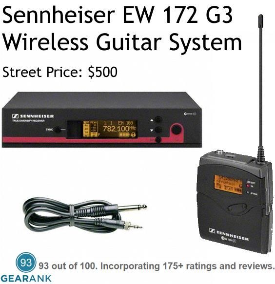 Sennheiser EW 172 G3 Wireless Guitar System. Notable guitar friendly features include a guitar tuner, equalizer, and cable emulator. For a Guide to the Best Wireless Guitar Systems Under $500 see https://www.gearank.com/guides/guitar-wireless-systems