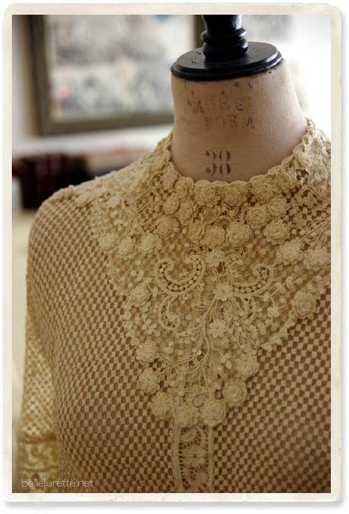 19-го века антикварные кружева блузка - [Белл Lurette] Европа Франция античный кружева белье одежда почте