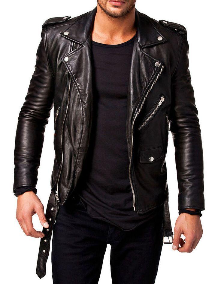 New Black Cheap Men's real Lambskin Biker Motorcycle slim fit Leather Jacket A47 #Handmade #Motorcycle