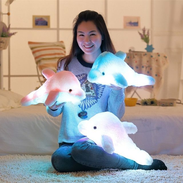45cm Creative Luminous Plush Dolphin Doll Luminous Pillow, Plush Toys, Hot Colorful Doll Kids Children Party Birthday Gifts