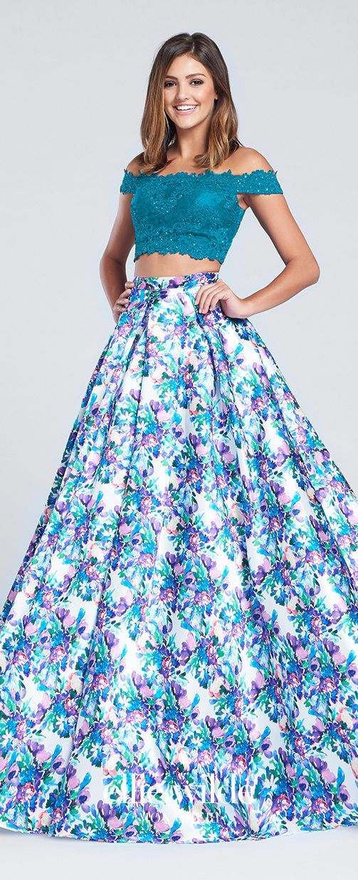 Prom Dresses 2017 - Ellie Wilde for Mon Cheri - Two-Piece Teal Floral Prom Dress with Lace Cropped Top and A-line Skirt with Pockets - Style No. EW117167