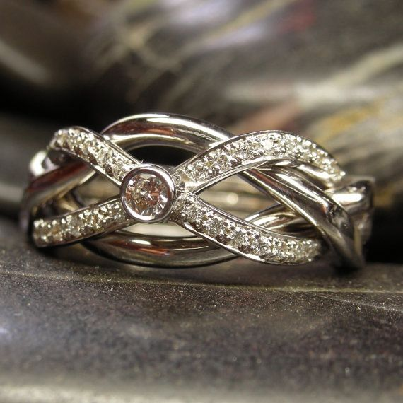 Diamond infinity puzzle ring in solid gold  by VanseeJewelry