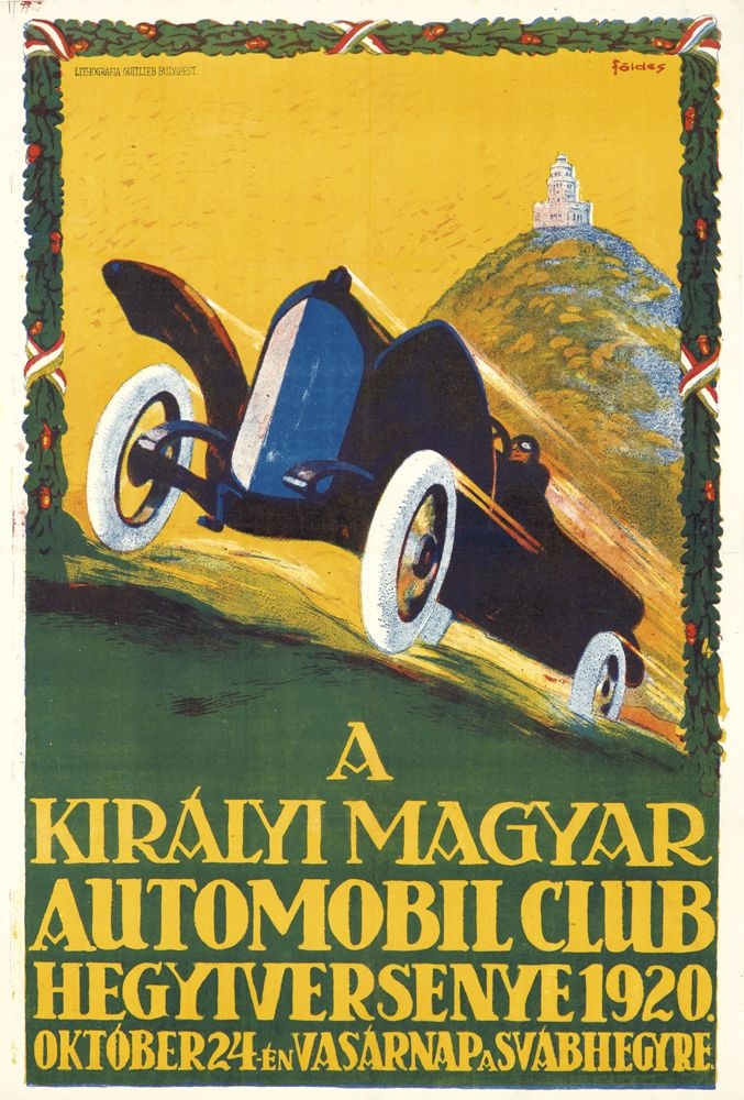 Artist: IMRE FÖLDES (1881-1948) Size: 25 x 37 1/4 in./63.6 x 94.8 cm Lithografia Gottlieb, Budapest Founded in 1900, the Royal Hungarian Automobile Club held regular endurance races through the Carpathian mountains. With much of the country's territory lost in World War I, these races had to be redesigned. This poster is for the inaugural race up Schwaben Hill - a particularly challenging and steep climb for even the most seasoned driver.