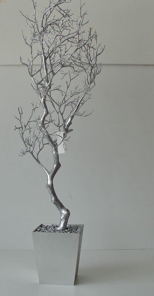 Dekobaum 120cm Kunstbaum Silber Glitzer künstlicher Baum getopft Dekoration