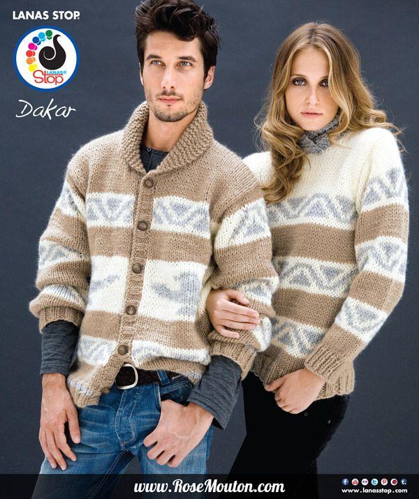 Nouveaux #modèles #gratuit à télécharger au format #PDF https://www.rosemouton.com/lanas-stop-veste-homme-pull-femme-laine-dakar-1701.html Veste jacquard homme et pull jacquard femme tricotés en laine Dakar de Lanas Stop. Ces deux modèles se tricotent avec des aiguilles n° 7. Veste homme disponible en tailles 46 / 50 / 54, pull femme disponible en tailles 38 / 42 / 46. #tricot #pull #veste #jacquard #lanastop #lanasstop #rosemouton #knit #knitting