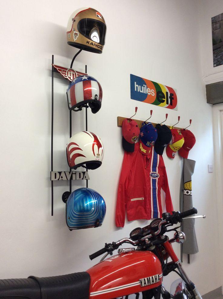 vintage motorcycle helmets cafe racer garage shed