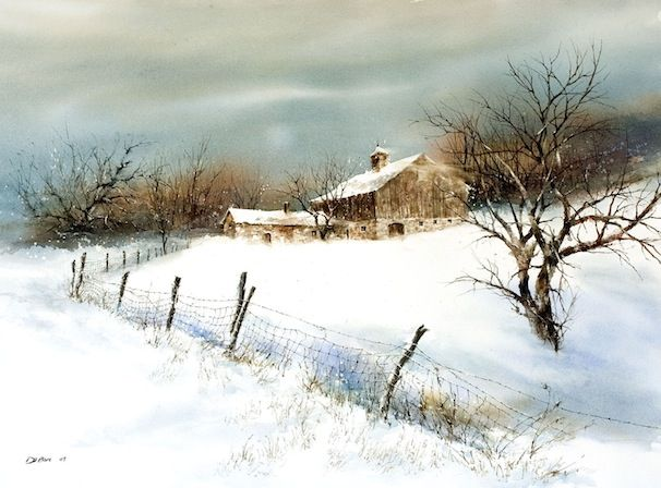 Wind Chill, watercolor by Richard DuBois.  See spiritoftheblackhills.com