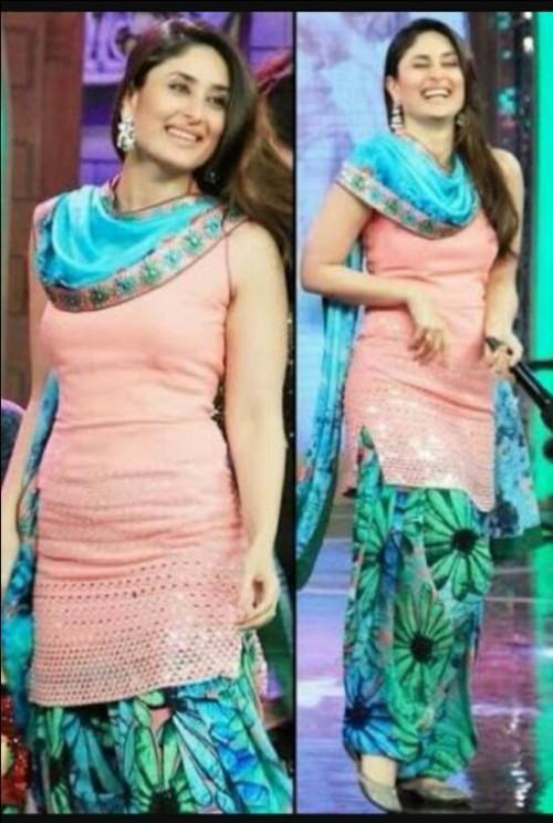 looking for a similar tropical print blue patiala salwar & peach kameez outfit like kareena kapoor is wearing