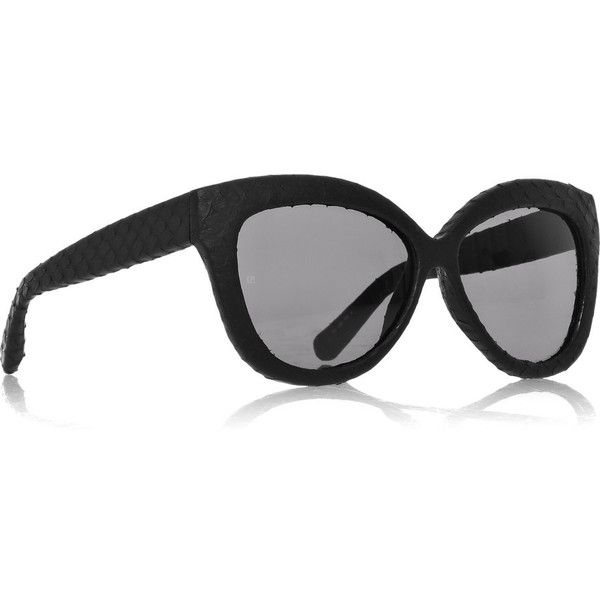 Linda Farrow Luxe Watersnake-covered cat eye sunglasses ($630) ❤ liked on Polyvore