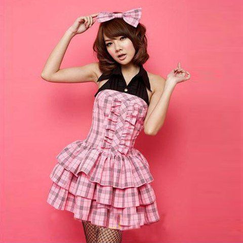 Cute Pink Student Cosplay Check Halter and Layered Design Costume Sets For Women