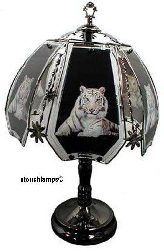 White tiger touch lamp with pewter base