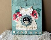 Zoet en Shabby Kant Veranderde Kledingstijl Collage Canvas 8 x 10 inch met vintage versieringen