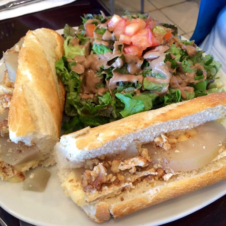 This is the From'ton baguette(Brie cheese, warm pears, and roasted walnuts) from Chez Meme (4016 Hastings).