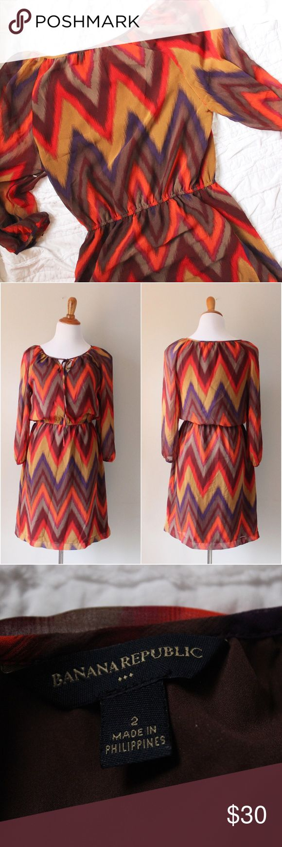 Banana Republic Chevron Print Long Sleeve Dress Long sleeve dress with a chevron print throughout. Pull over style, tie front detail and Elastic Waist. Shown on a size 4/6 mannequin. In gently used condition. Banana Republic Dresses Long Sleeve