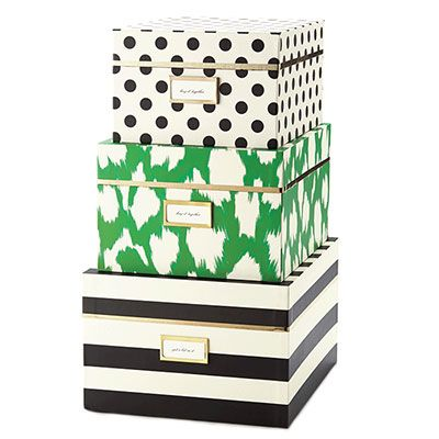 Ikat, dot, and stripe nesting box set by Kate Spade New York from UrbanGirl.com.  Great gift idea!  Storage with style.  http://www.urbangirl.com/Products/kate-spade-new-york-Nesting-Boxes--Black-Stripe-with-ikat-Cheetah__KSP144630.aspx