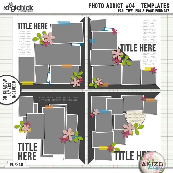 Photo Addict #04 | Templates by Akizo Designs - For Digital Scrapbooking Layout