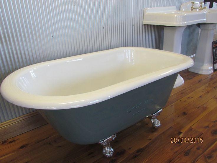 4' (1220mm) Paddington Bath Vitreous Enameled (850C) interior white, external painted, Solid Brass Chrome Plated Feet