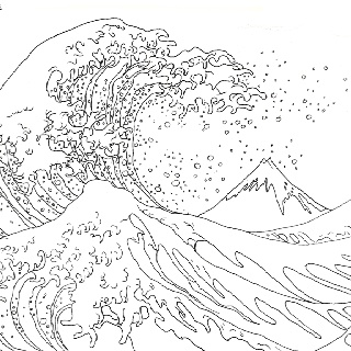Hokusai great wave coloring page sketch coloring page for The great wave coloring page