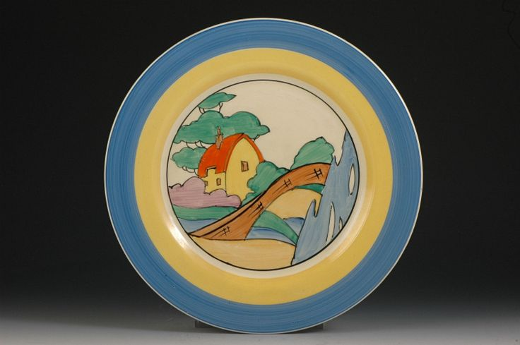 """clarice cliff VERY UNUSUAL ORANGE ROOF COTTAGE 10"""" PLATE"""