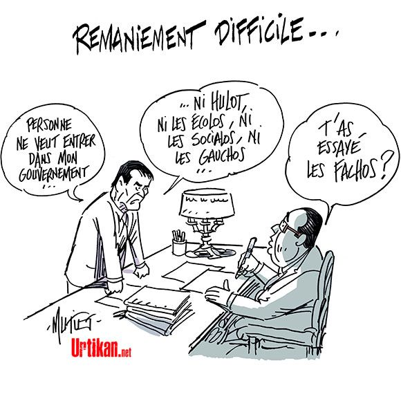 Remaniement ministériel 2016 : la (re)composition du gouvernement Valls - Dessin du jour - Urtikan.net