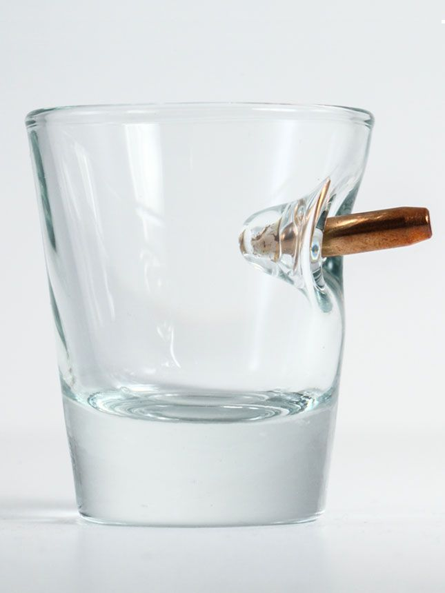 Custom shot glass with real bullet. Glass is high-quality, heavy, and handcrafted in our glass workshop in ...
