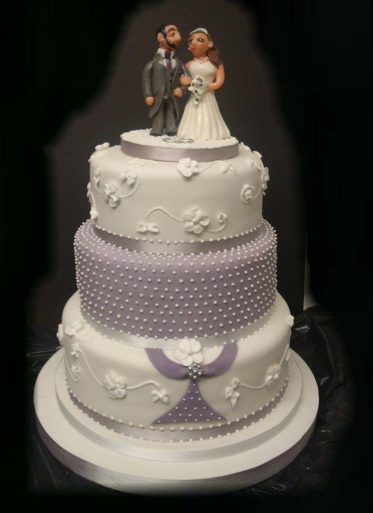 3 Tier White & Lilac Wedding Cake, with hand made Sugarpaste Bride & Groom