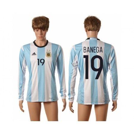 Argentina 2016 Banega 19 Hjemmebanetrøje Lange ærmer #Billige Fodboldtrøjer