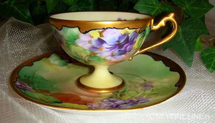 Philip Rosenthal - Pickard - Tea - Coffee - Chocolate - Coco - Demitasse - Cup - Saucer - Hand Painted - Artist Signed Reury - Romantic Victorian Bouquets - Purple Violets - Coin Gold Accents - Circa 1910
