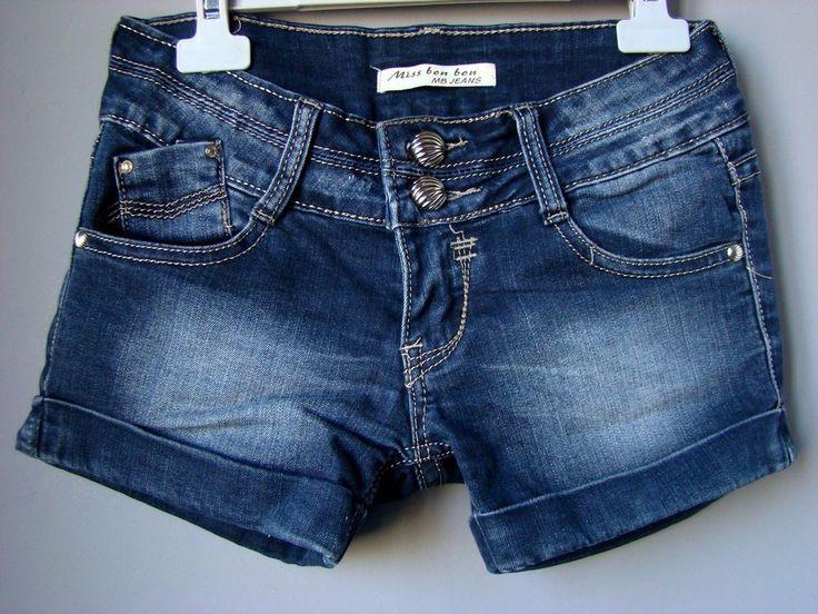 Pantaloncini Bermuda SHORTS donna jeans denim blu culotte woman 38 40 xs S BON