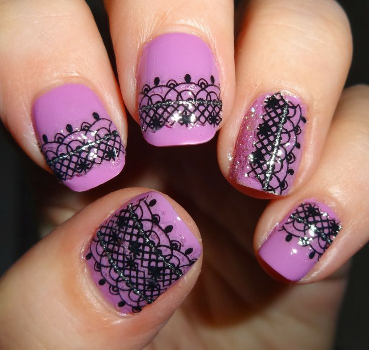 Wendy's Delights: Sparkly Nails Midnight Lace Nail Stickers @Amy Lyons Jabara Blondie-Nails.co.uk