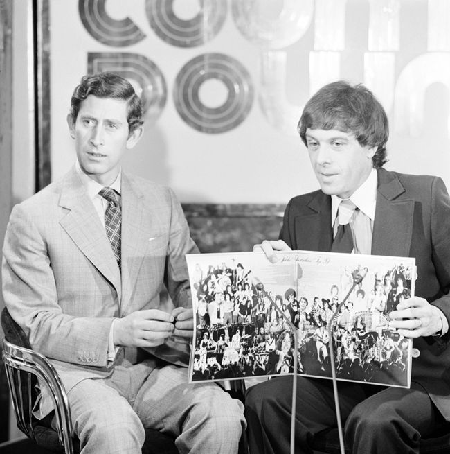 Prince Charles with Ian 'Molly' Meldrum on the ABC music show Countdown launch the Silver Jubilee Australian Top 20 album. Proceeds from the sale of the album went to the Queen's Silver Jubilee Appeal for Young Australians.