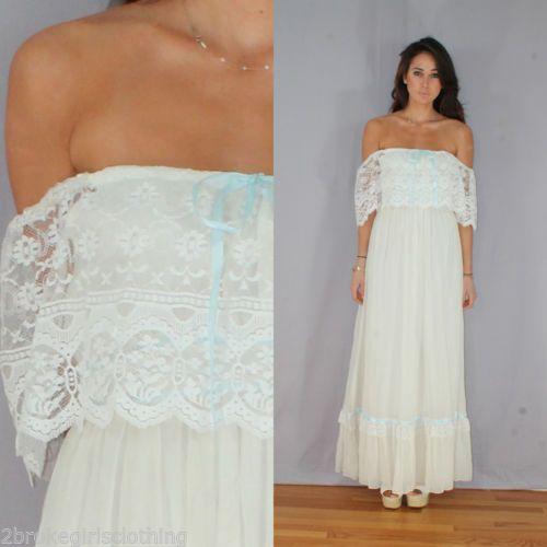 Vtg 70s Boho Off Shoulders SHEER Lace Trim PRAIRIE Mexican Wedding Dress