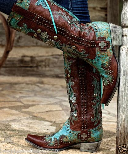 Gorgeouse Lane Boots for Double D Ranch Turquoise Ammunition Cowgirl Boots 8M | eBay